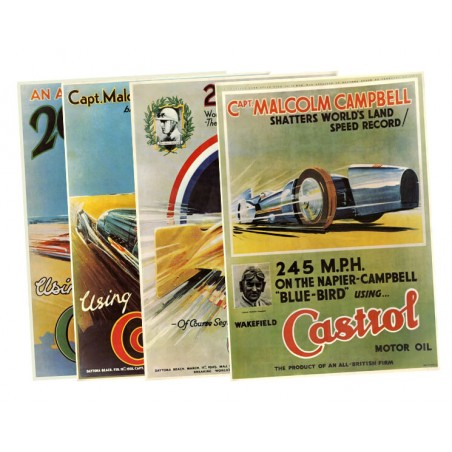 Set de 4 posters Castrol motor oil Landspeed-Austin Mini