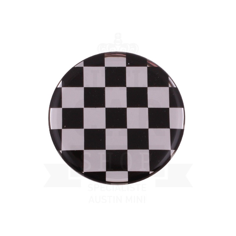Autocolant rond Damier Chrome (42mm) - Austin Mini