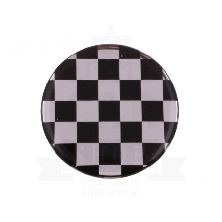 Autocollant rond Damier Chrome (42mm) - Austin Mini-Austin Mini