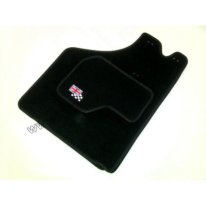 4 tapis de sol (noir) Union Jack/Damier - Austin Mini