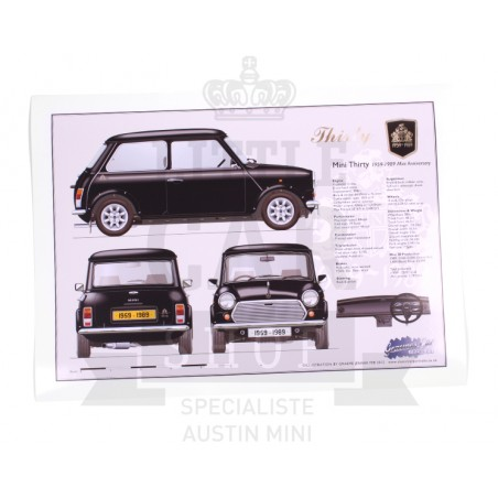 Dessin imprimé Mini Thirty 30eme anniversaire - Austin Mini