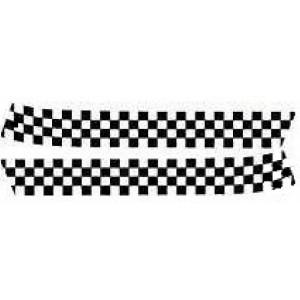 Bande de capot avant (la paire) : Damier blanc et transparent