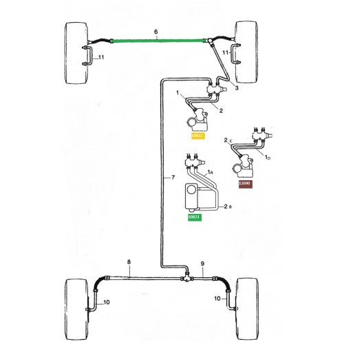 Tuyau de frein cuivre - liaison av G/D / REP6-Austin Mini