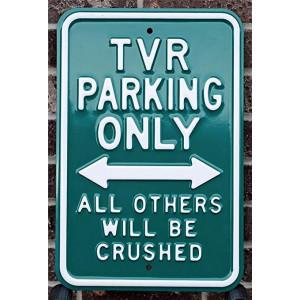 Plaque métal emboutie murale TVR Parking Verte