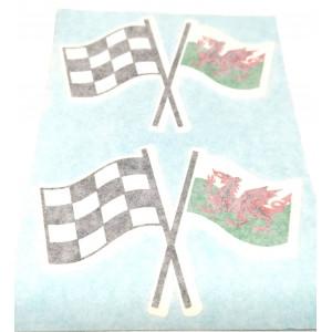 Autocollant drapeau damier et wales( la paire )-Austin Mini