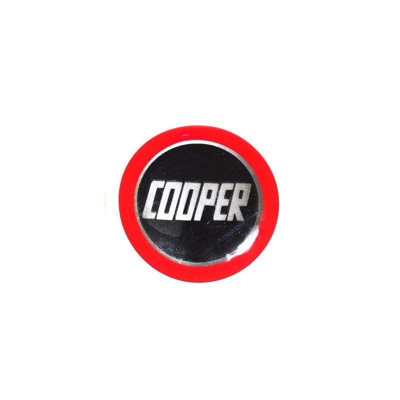 Autocolant Cooper noir cercle rouge (27 mm) - Austin Mini