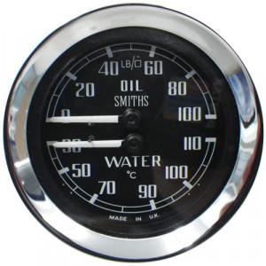 Jauge dual température eau et huile Smith (sonde env 2ml) Noir