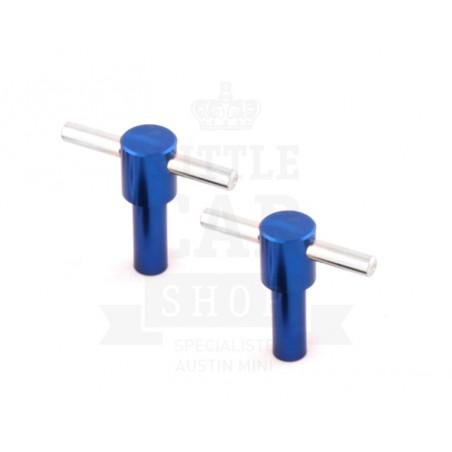 Vis T de cache culbuteur anodisées x 2 - Bleu-Austin Mini