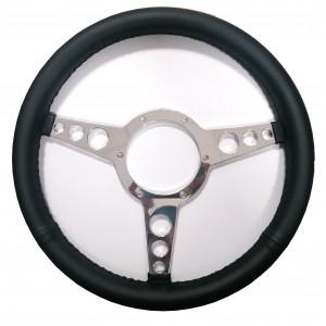 Volant Cuir noir plat 13'' et branches alu polis - Austin Mini