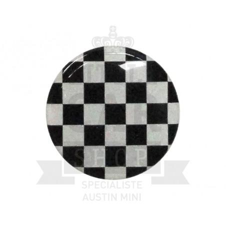Autocollant rond Damier (42mm) - Austin Mini-Austin Mini