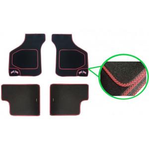4 tapis de sol (noir) liseré rouge / drapeaux Union Jack - Austin Mini