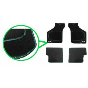 4 tapis de sol (noir) liseré vert damier / drapeaux Union Jack - Austin Mini