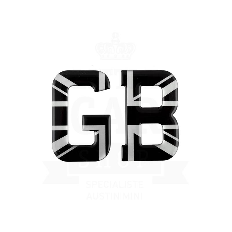Lettre GB résine Union Jack (noir et gris)-Austin Mini