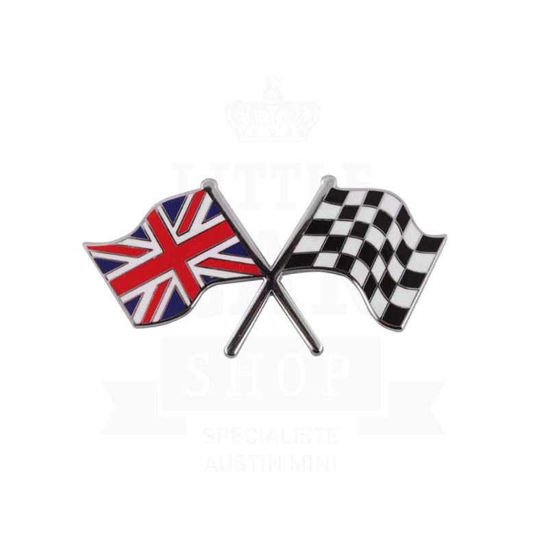 Badge drapeaux anglais et damier croisés émail à coller