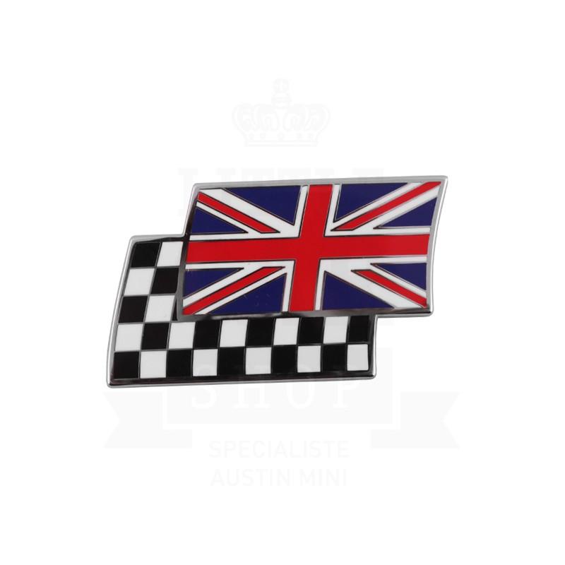 Badge drapeaux anglais et damier superposés émail à coller
