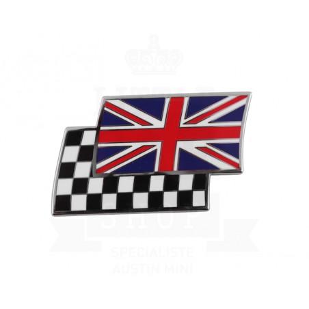 Badge drapeaux anglais et damier superposés émail à