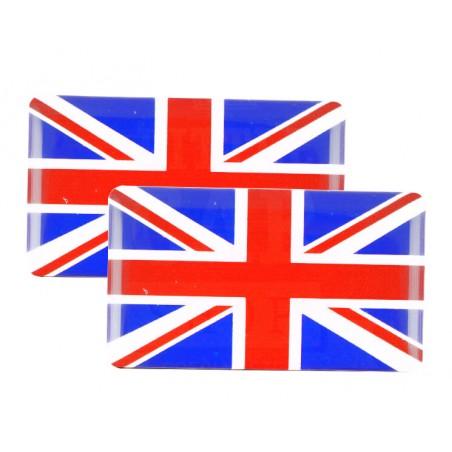 Badge Union Jack (bleu et rouge) autocollant Résine (x2)