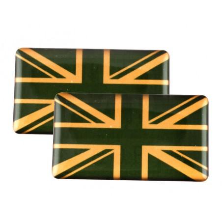 Badge Union Jack (vert et or) autocollant Résine (x2)-Austin