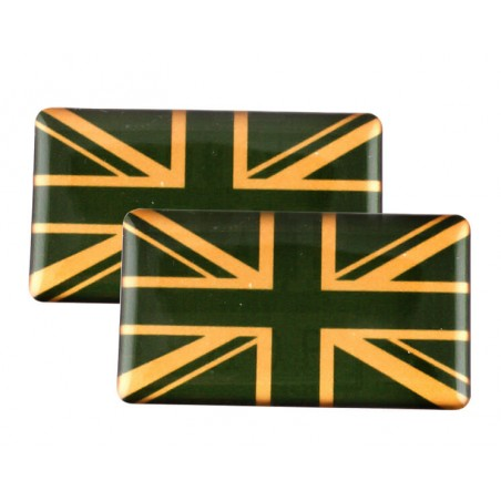 Badge Union Jack (vert et or) autocollant Résine (x2)