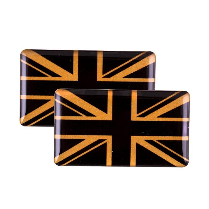 Badge Union Jack (noir et or) autocollant Résine (x2)