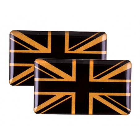 Badge Union Jack (noir et or) autocollant Résine (x2)