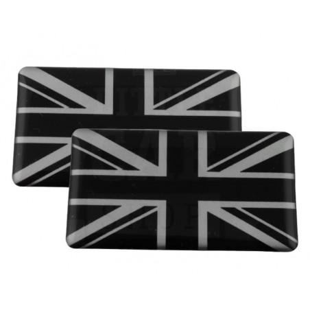 Badge Union Jack (noir et gris) autocollant Résine (x2)