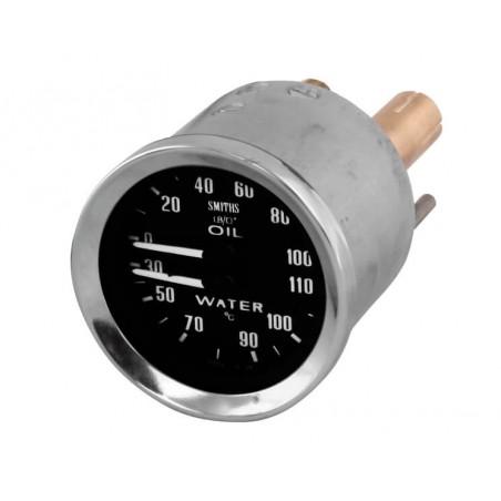 Jauge dual de température d'eau et d'huile Smith - Noir