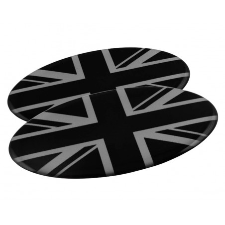 Badge Union Jack Oval (noir et gris) autocollant Résine (x2)