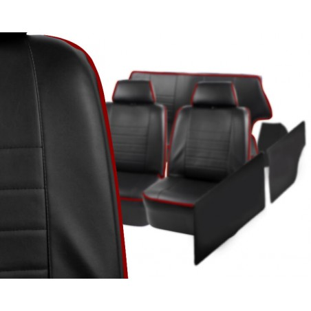 KHS-B3 -Kit Intérieur Complet 2 Sièges Banquette Joues et Panneaux - Noir Liseré Rouge