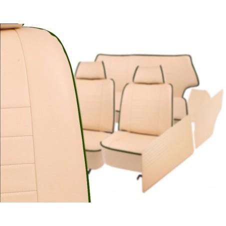 KHS-A5 - Kit Intérieur Complet Housses Siège Beige Liseré Vert Anglais avec Housse Arrière et Panneaux