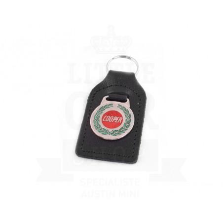 Porte clés cuir avec badge Cooper avec laurier