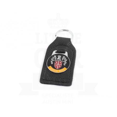 Porte clés cuir avec badge Austin Mini type blason