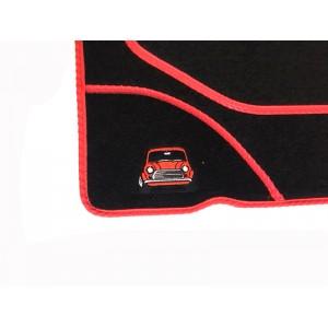 4 tapis de sol (noir) liseré rouge Broderie Mini-austin-mini