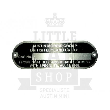 Plaque pour numéro chassis Austin Morris