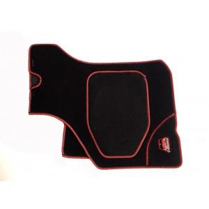 4 tapis de sol (noir) liseré rouge noir Broderie Mini-Austin