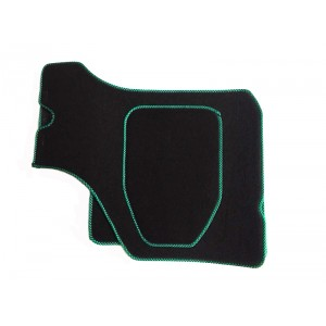 4 tapis de sol (noir) liseré vert et noir-austin-mini