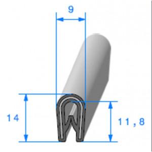 Jonc bord de tôle simple U 9x14 mm noir 1 mètre