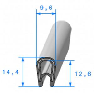 Jonc bord de tôle simple U 9.6x14.4 mm noir 1 mètre-Austin Mini