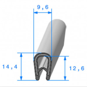 Jonc bord de tôle simple U 9.6x14.4 mm noir 1 mètre