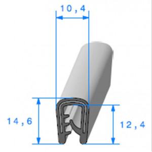 Jonc bord de tôle simple U 10.4x14.6 mm noir 1 mètre