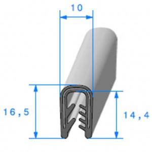 Jonc bord de tôle simple U 10x16.5 mm noir 1 mètre- ORIGINE