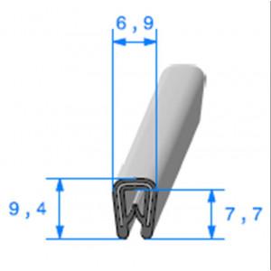 Jonc bord de tôle simple U 6.9x9.4 mm noir 1 mètre