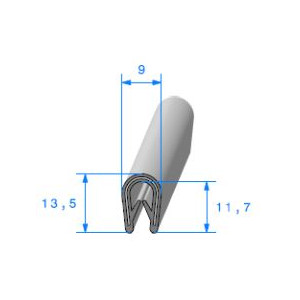 Jonc bord de tôle simple U 9x13.5 mm gris 1 mètre-Austin Mini