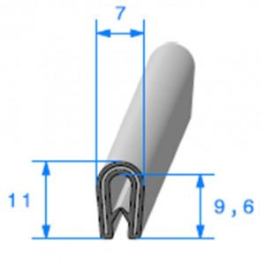 Jonc bord de tôle simple U 7x11 mm noir 1 mètre