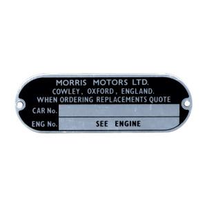Plaque pour numéro chassis Morris