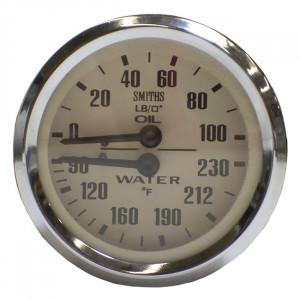 Jauge dual de temperature d'eau et pression d'huile