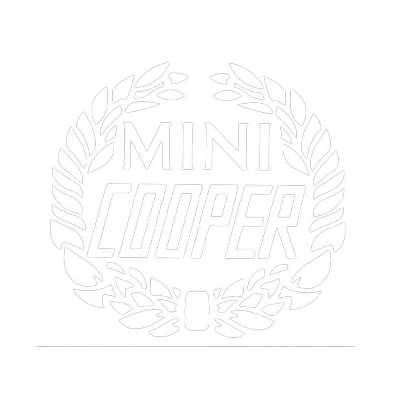 Autocollant laurier Mini Cooper : blanc - Austin Mini