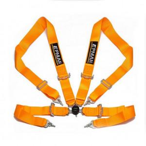 Harnais 4 points non FIA - Boucle Aviation - Orange-Austin Mini