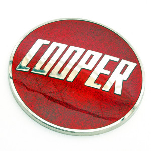 Badge Cooper émail à coller - Cooper Car Co Rouge-Austin Mini