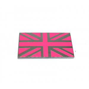 Badge union jack rose et chrome MINI / emaillé /